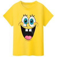 Casual Round Neck Spongebob Pattern Short Sleeve T-Shirt For Kids