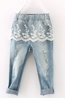 Fashionable Lace Spliced Elastic Waist Ripped Jeans For Girl