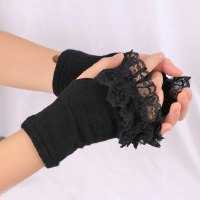Pair of Stylish Lace Edge Knitted Fingerless Gloves For Women