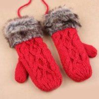 Pair of Chic Faux Fur Knitted Hemp Flowers Women's Splicing Lanyard Gloves