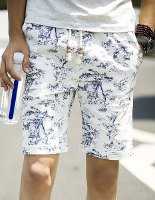 Summer Straight Leg Loose-Fitting Chinese Flower Print Lace-Up Linen Blended Shorts For Men