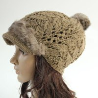 Stylish Faux Fur Embellished Hollow Out Knitted Beanie For Women