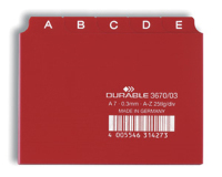 Durable 367003 Durable Leitregister A-Z, A7, 5/5-tlg. rot