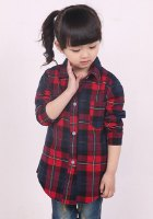 Stylish Long Sleeve Turn-Down Collar Checked Letter Print Shirt For Girls