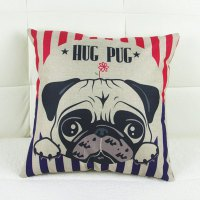 Simple Dog Pattern Linen Decorative Pillowcase (Without Pillow Inner)