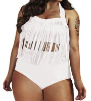 Sexy Solid Color High-Waisted Fringe Design Plus Size Bikini Set For Women