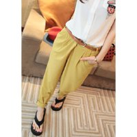 Casual Loose Fit Candy Color Elastic Waist Harem Pants For Women
