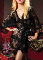 Chic Black Cut Out See-Through 3/4 Sleeve Belted Lace Cardigan For Women