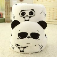Cute Cartoon Panda and Sunglasses Design Coral Fleece Blanket Roll