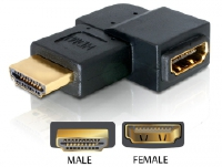 Adapter, HDMI Stecker an HDMI Buchse, 90____deg; gewinkelt, links, Delock® [65077]