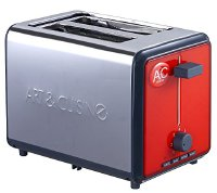 A&C Home C A&Home TO851R Grill Toaster Edelstahl 800 Watt, rot (TO851R)