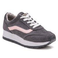 Fashionable Women's Athletic Shoes With Canvas and Colour Block Design