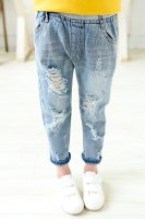 Stylish Elastic Waist Broken Hole Solid Color Jeans For Girls