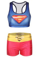 Active U Neck Superhero Printed Tank Top and Shorts Yoga Suit For Women