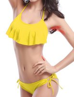 Sexy Lace-Up Halter Solid Color Flounced Bikini Set For Women