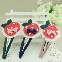 Sweet Bowknot and Beads Embellished Women's Apple Shape Hairpin