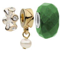 Amadora Crystal and Pearl Pack of Three Charms Set - Eine Größe - Silber