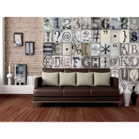 1 Wall Creative Collage Typography 64 Piece Wallpaper