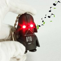 Key Chain Star Wars Figure Black Knight Darth Vader Key Ring with Red Light / Sound