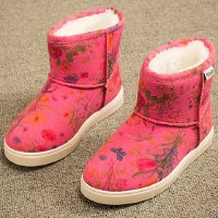 Sweet Girl's Snow Boots With Floral Print and Round Toe Design