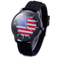 American Flag Quartz Watch Diamond Round Dial Rubber Watchband for Men