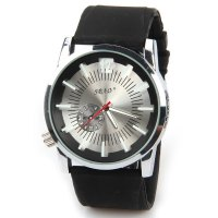 SBAO Casual Men's Watch with Quartz Dial Rubber Watchband - Black and White