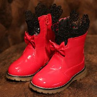 Sweet Girl's Boots With Bow and Lace Design