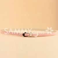 Cute Slender Candy Color Bowknot Layered Waist Belt For Women