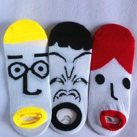 Pair of Fashionable Cartoon Facial Expression Pattern Socks For Men