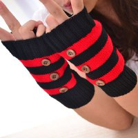 Pair of Stylish Buttons Embellished Stripe Pattern Knitted Fingerless Gloves For Women