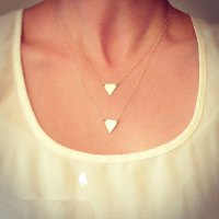Charming Solid Color Triangle Shape Pendant Multi-Layered Necklace For Women