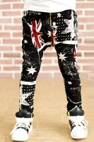 Fashionable Union Jack and Star Print Baggy Boy's Jeans
