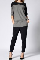 Casual Round Neck 3/4 Sleeve Spliced T-Shirt + Waist Drawstring Pants Twinset For Women