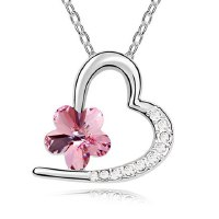 Chic Rhinestoned Flower Decorated Heart Pendant Necklace For Women