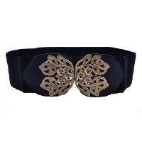 Retro Carve Patterns Elastic All-Match Leaf Spring Belt For Women