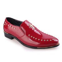 Stylish Men's Brogues With Patent Leather and Rivets Design