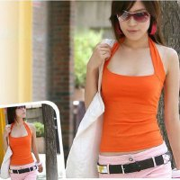 Sexy Halterneck Low-Cut Backless Sheath Solid Color Vest For Women