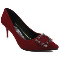 Office Lady Women's Pumps With Rivet and Suede Design