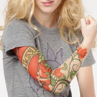 One Piece Fashionable Rose and Letter Pattern Tattoo Oversleeve For Women