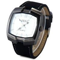 Sbao Male Watch with Nubuck Leather Band Rectangel Dial