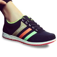 Fashionable Women's Athletic Shoes With Striped and Colour Block Design