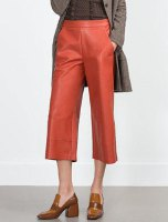 Chic Mid-Waisted Pocket Design Faux Leather Cropped Pants For Women