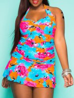 Sexy Colorful Floral Print Halter Bodycon Flounce One-Piece Swimwear For Women