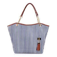 Casual Women's Shoulder Bag With Tassels and Striped Design