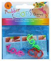 Folia 33904 - Rubber Loops Charms Love, 4 farbige Anhänger (4001868070439)