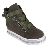 Trendy Women's Sneakers With Suede and Criss-Cross Design