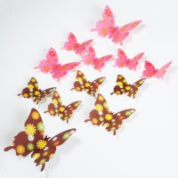 DIY 3D Butterfly Wall Sticker Mirror Art Decal PVC Paper for Home Showcase - 12Pcs