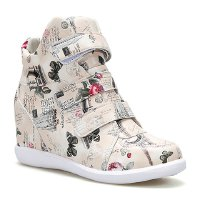 Sweet Women's Athletic Shoes With Color Block and Floral Print Design