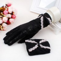 Pair of Stylish Bow Splice Lace Embellished Breathable Gloves For Women