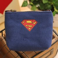Stylish Men's Coin Purse With Super Hero and Canvas Design